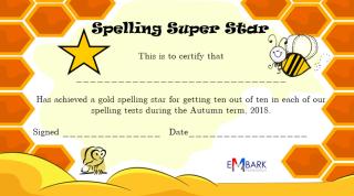 Spelling Stars Certificate
